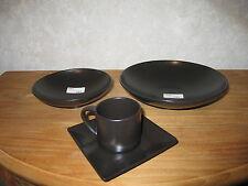 MIKASA *NEW* STONE GLAZE BLACK Set Tasse + soucoupe +2 coupelles Set cup + bowls