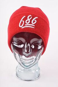 NWT MENS 686 GOODTIMES EMBROIDERED SNOWBOARD BEANIE $20 O/S red acrylic