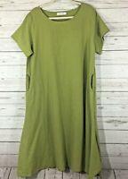 Anysize Womens Dress Size 120 Cotton/Linen Green Short Sleeve Midi length
