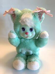 Vtg Mattel Magic Nursery Pet Mint Green Bunny Bear ? Kitty Plush Rubber Face 90'
