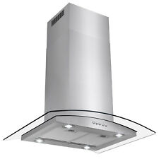 "New Island Kitchen Mount 36"" Glass Stainless Steel Ductless Range Hood Stove Fan"