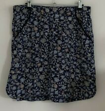 Next Size 12 Ladies Blue Skirt With Blue & Brown Print Detail