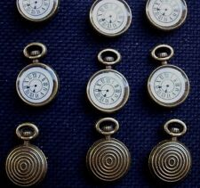 6 Small Imitation Pocket Watch Bronze Tone Metal Charms Resin faces 17mm x 10mm.