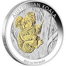 2013 Australian Koala 1oz Silver Proof, Gold Gilded Coin - Perth Mint