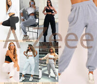 Womens Fleece Casual Oversized Jogging Joggers Cuffed Bottoms Ladies Jog Pants