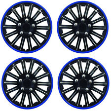 "15"" Inch Lightning Sports Wheel Cover Trim Set Black With Blue Ring Rims (4Pcs)"