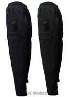 MEN'S BLACK ELASTICATED FLEECE LINED THERMAL CARGO WARM CASUAL WORK TROUSERS