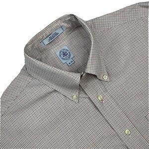 Mens 16 / 32  J Press Red / Blue Mini Plaid Cotton  Button Down Shirt