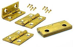 4x Butt Hinges 25mm solid brass dolls house trinket box door hinge & screws