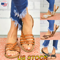 Women Sandals Slide Buckle T-Strap Cork Footbed Strappy Platform Flip Flop Shoes