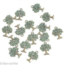 JP 10PCs Vintage Bronze Tone Tree Life Shape Charm Pendants Jewelry Findings