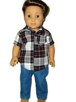 Jeans & Plaid Shirt doll clothes for Boys fits American Girl Boy dolls Handmade
