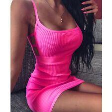 Women Bodycon Sleeveless Spaghetti Strap Stretchy Package Hip Short Mini Dress