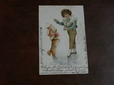 ORIGINAL FRANCES BRUNDAGE TUCK CHILDREN POSTCARD - YOUNG BOY WITH DOG, No. 2100.