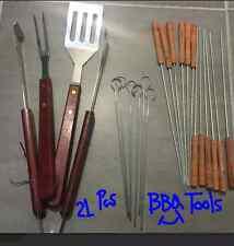 21 Pcs Barbecue Tool BBQ Accessory BBQ Set 3 pcs+Skewers Set 6pcs+Barb Set 12Pcs