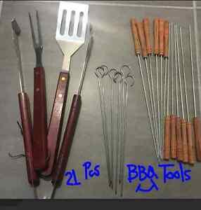 BBQ Accessory 21 Pcs Barbecue Tool BBQ Set 3 pcs+Skewers Set 6pcs+Barb Set 12Pcs
