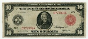 $10 1914 Federal Reserve Note Red Seal VF