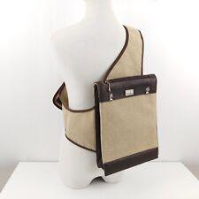 AlpenwAnn Swiss Burlap Leather & Pewter Edelweiss Cross Body Sling Satchel Bag