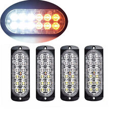 4Pc Amber/White 12LED Car Truck Emergency Warning Hazard Flash Strobe Light