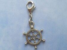 Silver Plated Hand Made Clip on Charm - SHIP WHEEL SEA OCEAN NAUTICAL - CH336