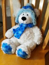 AC03* Hugfun Kenny Plush Toy White Bear with cap and scarf, size 18 inch