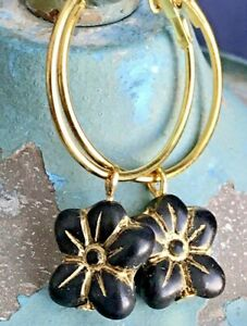 Beautiful Etched Black and Gold Flower Hoop Earrings.
