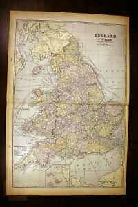 """England and Wales Antique Color Map 1901 Cram's 14½"""" x 22"""" United Kingdom"""