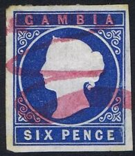 Gambia 1874 SG7 6d Deep Blue Very Fine Used Large Margins Cat. £225.00