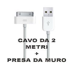Mini Carica Batteria USB Da Muro Per Iphone 3GS 4 4S Ipad Bianco Con Cavo 2 M