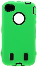 for iPhone 4 4G 4S  Green & Black Impact Armor Hard & Soft Rubber Case Cover