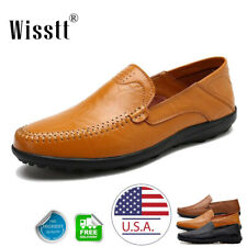 Men's Leather Driving Loafers Dress Shoes Casual Slip On Flat Moccasins Size 11