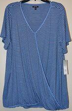 Apt 9 Women Plus Blue Striped Short Sleeve Cross over Drape Front Knit Top Sz 2X