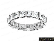 Band Ring 950 Platinum G Si1 3.40Ct Princess Diamond U-Prong Wedding Eternity