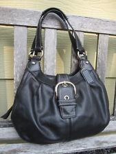 COACH SoHo Lynn F15527 Smooth Black Leather Hobo Shoulder Bag