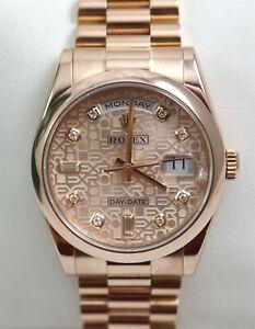 Rolex 118205 Day-Date 18K Pink Jubilee 36mm Diamond Dial Watch w/Box & Papers