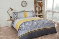 Rapport Barbican Geometric Ochre Grey Duvet Cover Bedding Set