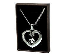 Heart OM / AUM Necklace - White Gold Plated   Diwali Yoga Meditation Gymnasium