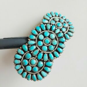 Sterling Silver Turquoise Navajo Barrette LARRY MOSES BEGAY Signed Cluster