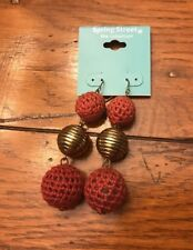 "Spring Street Fishook Earrings Pink Crochet and Goldtone 3 Sphere 2 1/2"" Earring"