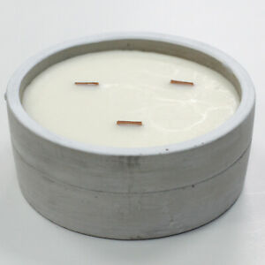 Concrete Soy Wax Candle Pot Large Round - Patchouli & Dark Amber 35 Hours Burn
