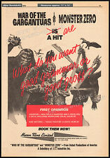 WAR OF THE GARGANTUAS / MONSTER ZERO__Original 1970 Trade AD movie promo_poster