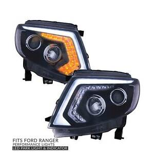 Headlights DRL Style with LED Indicator fits Ford Ranger PX MK1 - PAIR