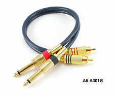 "1ft Dual 1/4"" TS Mono Male Plug to 2-RCA Plug Male Gold-Plated Blue Audio Cable"