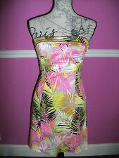 BNWOT NEW H&M bandeau BODYCON pink yellow VIBRANT TROPICAL PALM DRESS 6 8 LOOK