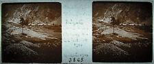Plaque stéréoscopique photographie Chalet d'ailefroide dégâts orage 22 07 1914