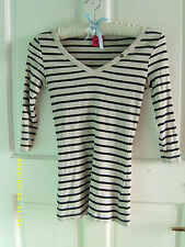 George V Neck Striped Tops & Shirts for Women