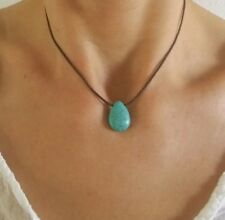 Turquoise Choker Necklace Surfer Gemstone Cord Layering Bracelet Adjustable Gift