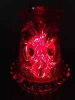 Vintage 1960s Ruby Red Glass Owl Glimmer Fairy Lamp Candle Holder Viking Art