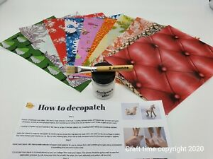 Decopatch Decoupage Starter Kit With 10 Quarter Papers, Glue, Brush, Instruction