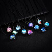 Star Galaxy Universe Nebula Space Glass Ball Pendant Glow In The Dark Necklace
